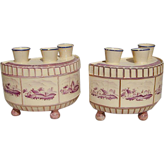 Pair English Pottery Pink Lustre Bough Pots, probably North Eastern (c. 1810 England)