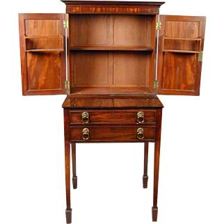 George III Mahogany Writing Cabinet (c. 1800 England)