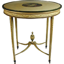 Adam Period Decorated Oval Table (c. 1780 England)