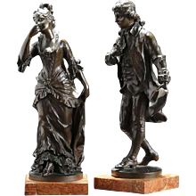 Pair of Late 19th Century Bronzes of a Courting Couple. Signed K STERRER. Circa 1880. (c. 1880 Austrian)