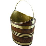 Georgian Oval Brass Bound Mahogany Bucket (c. 1780 England)