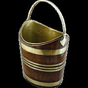 Georgian Oval Brass Bound Mahogany Bucket (c. 1780 England)