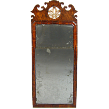 George I Walnut Mirror with Original Mirror Plates (c. 1720 England)