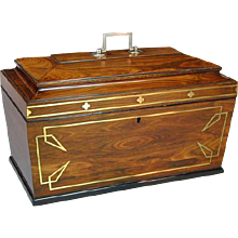 Regency Brass Inlaid and Silver Mounted Goncalo Alves Tea Caddy (c. 1810 England)