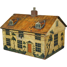 George III painted cottage workbox.
