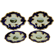 Worcester Flight, Barr & Barr Blue Ground Dessert Service with Named Views (c. 1820 England)