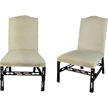 Pair of Chippendale Period Mahogany Chairs with Carved and Pierced Legs and Stretchers (c. 1760 England)
