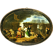 Late 18th Century Oil on Tin Oval Picture of Frederick Wilhelm I 'The Great Elector' of Brandenburg-Prussia, beside his wife During the Siege of Anklam. Unsigned. (c. 1800 Continental)