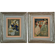 Pair of watercolour pictures by Gerda Wegener (15 March 1886 – 28 July 1940). Both signed, one dated 1918. (c. 1918 Danish)