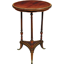 Victorian Mahogany, Satinwood and Gilt Metal Mounted Circular Occasional Table, in the manner of Weisweiler. English Circa 1850. Stamped HOLLAND & SONS. (c. 1850 England)