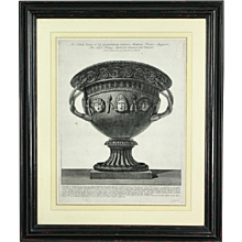 Original Piranesi engraving of a Large Basalt Vase with Carved Masks. Plate 60. (c. 1778 France)