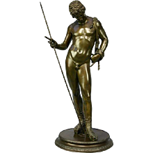 Late 19th Century Bronze of Narcissus. Bears foundry mark of CHIURAZZI of Naples. (c. 1890 Italian)