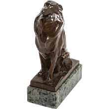 Early 20th Century Bronze of a Shetland Collie on Green Marble Base. Signed. (c. 1920 English)