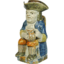 Yorkshire Pearlware Toby Jug and Cover (c. 1790 England)