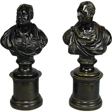Pair Regency bronze busts of the Duke of Sussex and the Duke of York by T. Hamlet dated 1823 and 1826 (1823 England)