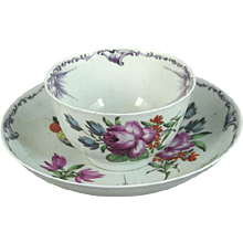 Early Worcester Tea Bowl and Saucer Decorated with Flowers and Butterflies (c. 1760 England)