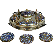 Coalport and Sheffield Plate Supper Set with Nine Matching Sideplates (c. 1810 England)