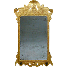 George I gesso mirror with original plate and gilding. England, c.1720