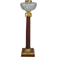 Late 19th Century red marble and ormolu oil lamp (England, c.1880)