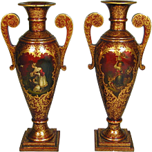 A pair of large red ground papier mache vases by Jennens & Bettridge. London, c.1840.