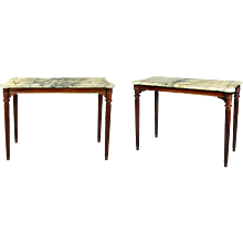 Pair of George III brass mounted mahogany centre tables with marble tops, attributed to Gillows. England, c.1810.