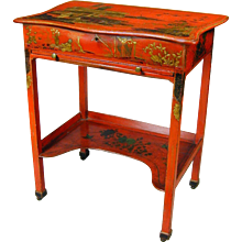 Rare George III red lacquer dressing table with fitted interior. England, c.1770