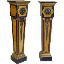 Pair George III carved and painted pedestals. England, c.1780