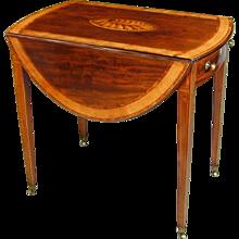 Sheraton mahogany oval pembroke table. England, c.1790