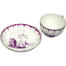 Hochst Puce Decorated Cup and Saucer