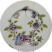 Liverpool Delft Floral Decorated Plate (c. 1760 English)