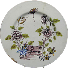 Liverpool Floral Decorated Plate (c. 1760 English)