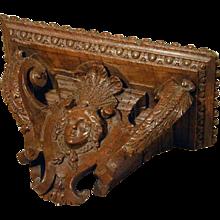 French Regence Period Carved Walnut Bracket (c. 1720 France)