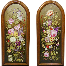 Pair of Spode Pottery Panels Painted with Flowers, Butterflies and Insects (c. 1800 England)