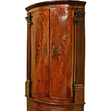 George II Mahogany Bow Front Double Corner Cupboard. (c. 1760 England)