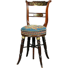 Regency Goncalo Alves and Brass Inlaid Music Chair. Circa 1815. (c. 1815 England)