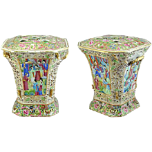 Pair of Canton Porcelain Bough Pots (c. 1850 China)