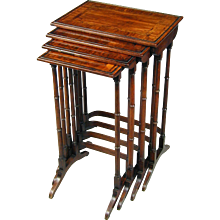 Sheraton period nest of tables in Goncalo Alves with yew wood crossbanding. England, c.1790