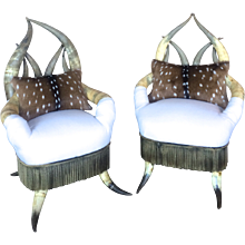 Pair of Victorian Horn Chairs
