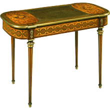 French Satinwood and Floral Marquetry Writing Table