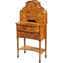 English Satinwood Bonheur du Jour or Writing Cabinet