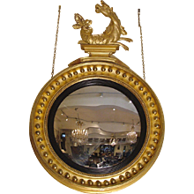 Regency Period Carved Giltwood Convex Mirror