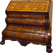18th Century Dutch Walnut and Floral Marquetry Bureau