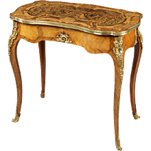 English Burr Oak and Marquetry Occasional Table, 19th Century