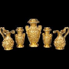 English 19th Century Gilt Bronze Collection of Decorative Urns