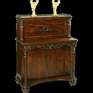 English Georgian Period Mahogany Writing Cabinet