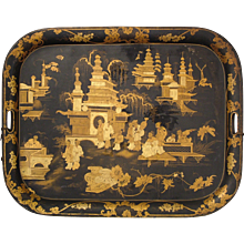 English Regency Period Lacquered Chinoiserie Tray