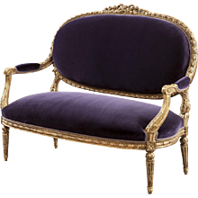 French 19th Century Giltwood Sofa with Velvet Upholstery