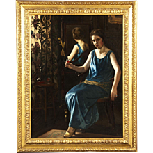 British 20th Century Painting of 'The Blue Girl'