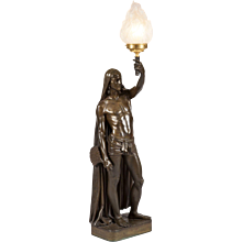 French Bronze Lamp of Indian Figure