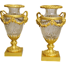 Pair of Crystal Gall and Ormolu Urns in the Louis XVI Manner